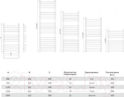 Полотенцесушитель водяной Terminus Стандарт Люкс 32/20 П14 500x1130 - схема