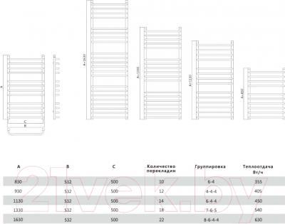 Полотенцесушитель водяной Terminus Стандарт Люкс 32/20 П22 500x1630 - схема