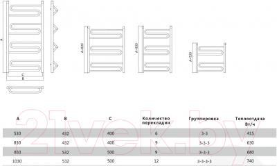 Полотенцесушитель водяной Terminus Юпитер 32/20 П6 400x530 - схема