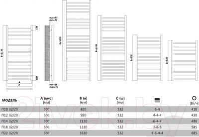 Полотенцесушитель водяной Terminus Аврора 32/20 П14 500x1130 - схема