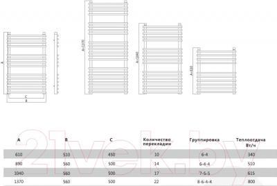 Полотенцесушитель водяной Terminus Ватра 32/20 П10 450x610 - схема