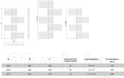 Полотенцесушитель водяной Terminus Европа 32/20 П25 640x1275 - схема