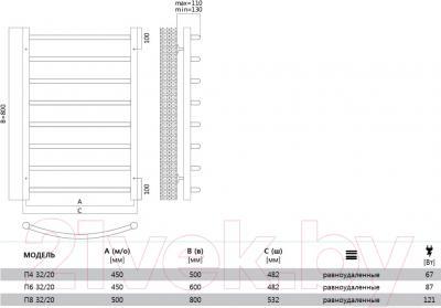 Полотенцесушитель водяной Terminus Классик 32/20/П4 500x530 - схема