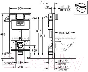 Инсталляция для унитаза GROHE Rapid SL 38525001 - схема