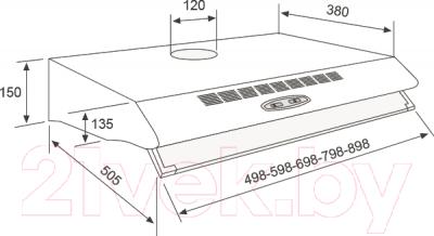 Вытяжка плоская Jetair Sunny 60 2M INX AL