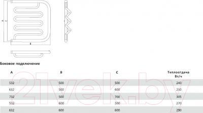 Полотенцесушитель водяной Terminus Фокстрот-Лиана 32/20 600x500 - схема