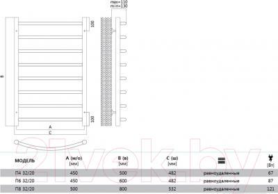Полотенцесушитель электрический Terminus Классик 32/20 П4 450х500 - схема