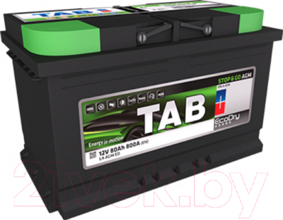 Автомобильный аккумулятор TAB EcoDry Stop&Go AGM 213080 (80 А/ч)