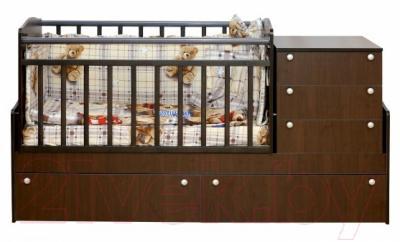 Детская кровать-трансформер Daka Baby Укачайка 04 (орех)