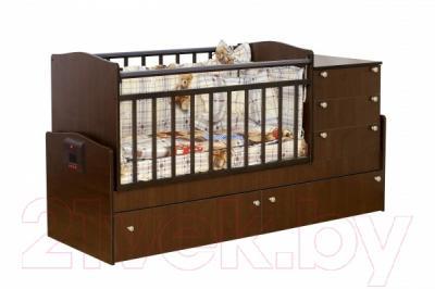 Детская кровать-трансформер Daka Baby Укачайка 05 (орех)