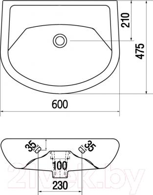 Умывальник настенный Керамин Стиль 60 Premium (без отверстия) - схема
