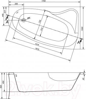Ванна акриловая Cersanit Sicilia 170x100 R / S301-098 - схема
