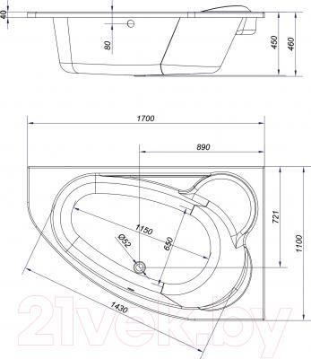 Ванна акриловая Cersanit Kaliope 170x110 R / S301-115 - схема