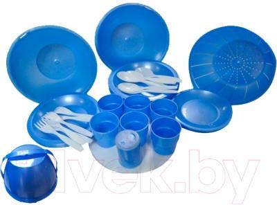 Набор пластиковой посуды Белпласт Пикник с215-2830 (голубой)