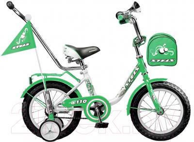 Детский велосипед Stels Pilot 110 2015 (14, белый/зеленый)