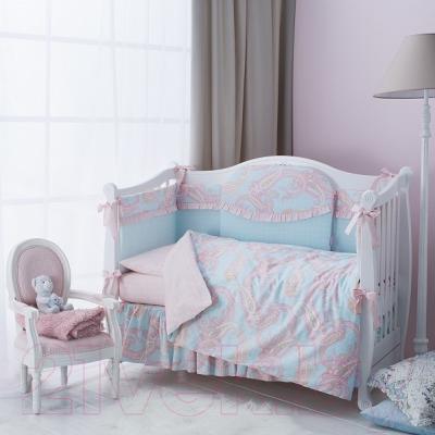 Комплект в кроватку Perina Шантель Ш4-01.3 - в интерьере (в комплекте 4 предмета)