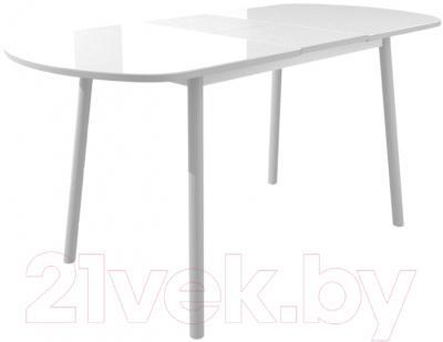 Обеденный стол Mamadoma Раунд (белый/серый) - в разложенном виде