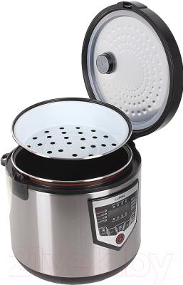 Мультиварка Lumme LU-1446 Chef Pro (черный/сталь) - с открытой крышкой