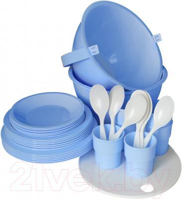 Набор пластиковой посуды Белпласт Пикник 2 с395-2830 (голубой)