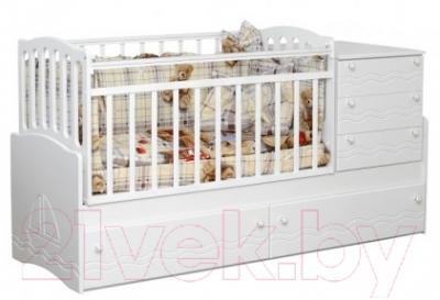 Детская кровать-трансформер Daka Baby Укачайка 04 (белый)