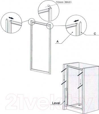 Душевая дверь Belezzo HX-151 90x90 (хром/прозрачное стекло) - схема монтажа