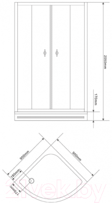 Душевой уголок Belezzo HX-122 90x90 (хром/прозрачное стекло) - схема