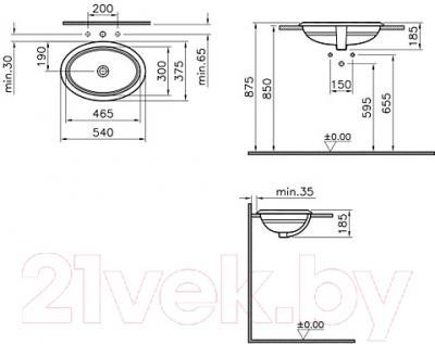 Умывальник VitrA Efes (5801B003-0012) - схема