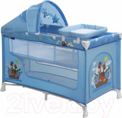 Кровать-манеж Lorelli Nanny 2 Plus (Blue Adventure)