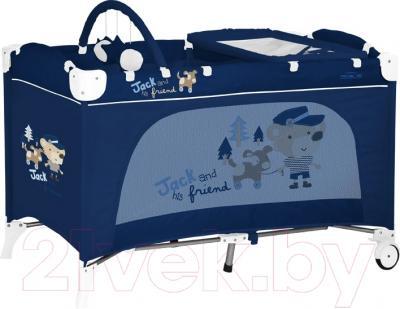 Кровать-манеж Lorelli Travel Kid 2 Rocker Blue Toy Train (10080231628)