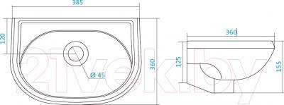Умывальник Santek Бриз 40 (1WH110439) - схема