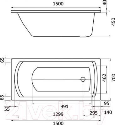 Ванна акриловая Santek Монако 150x70 Базовая (1WH112337) - схема