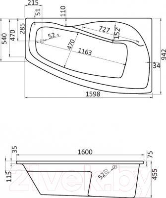 Ванна акриловая Santek Майорка XL 160x95 R Базовая (1WH112347) - схема