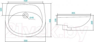 Умывальник настенный Santek Бриз 55 (1WH110457) - схема
