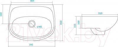 Умывальник Santek Анимо 40 (1WH110487) - схема