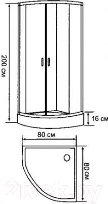Душевой уголок Belezzo HX-107 80x80 (хром/матовое стекло) - схема
