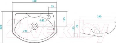 Умывальник Santek Азов 40 (1WH110254) - схема