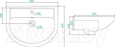 Умывальник Santek Астра 60 (1WH110201) - схема