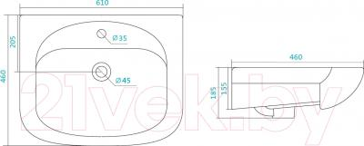 Умывальник накладной Santek Стелла 60 (1WH112450) - схема
