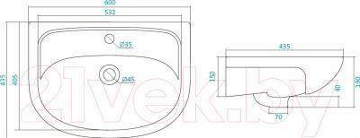 Умывальник накладной Santek Эллада 60 (1WH110198) - схема
