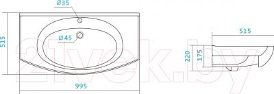 Умывальник накладной Santek Энигма 100 (1WH207777) - схема