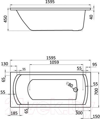 Ванна акриловая Santek Монако 160x70 Базовая Плюс (1WH112358) - схема