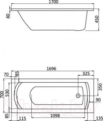 Ванна акриловая Santek Монако 170x70 Базовая Плюс (1WH112359) - схема