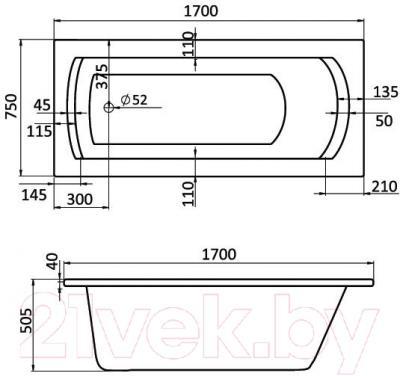 Ванна акриловая Santek Монако XL 170x75 Базовая Плюс (1WH112361) - схема