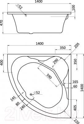 Ванна акриловая Santek Карибы 140x140 Базовая Плюс (1WH112362) - схема