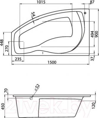Ванна акриловая Santek Майорка 150x90 L Комфорт (1WH112384) - схема