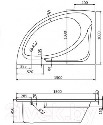 Ванна акриловая Santek Гоа 150x100 L Комфорт (1WH112388) - схема