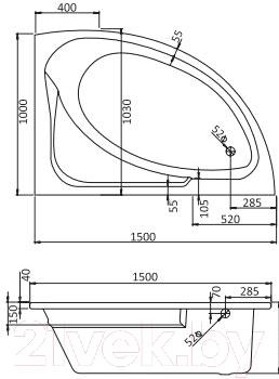Ванна акриловая Santek Гоа 150x100 R Комфорт (1WH112389) - схема