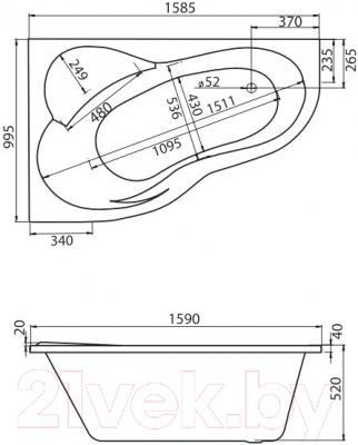 Ванна акриловая Santek Ибица XL 160x100 L Комфорт (1WH112392) - схема
