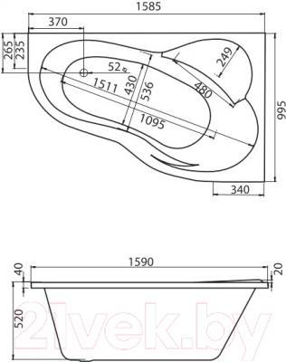 Ванна акриловая Santek Ибица XL 160x100 R Комфорт (1WH112393) - схема