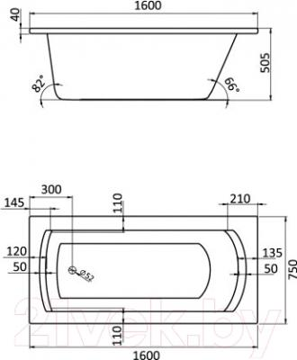 Ванна акриловая Santek Монако XL 160x75 Комфорт Плюс (1WH112400) - схема